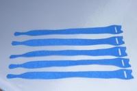 Klitterband cabel wrap / kabel binder blauw 12 stuks